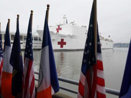 Small comfort for New York as hospital ship docks