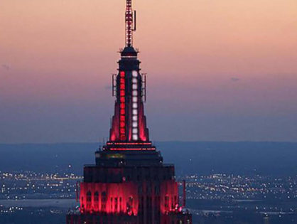 Coronavirus: Empire State Building lights up red and white in honor of first responders